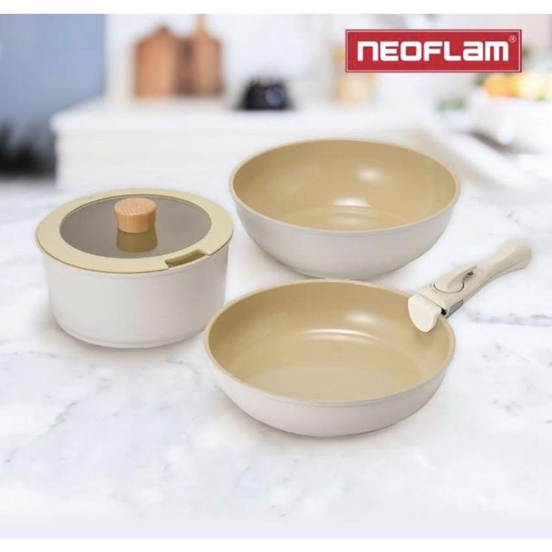現貨!FIKA midas plus 陶瓷 不沾 三鍋 七件組 可拆式鍋具 RV桶 全白 neoflam