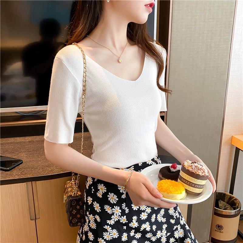 [2件199] 新款v領內搭薄款冰絲打底針織衫女短袖緊身短款t恤上衣