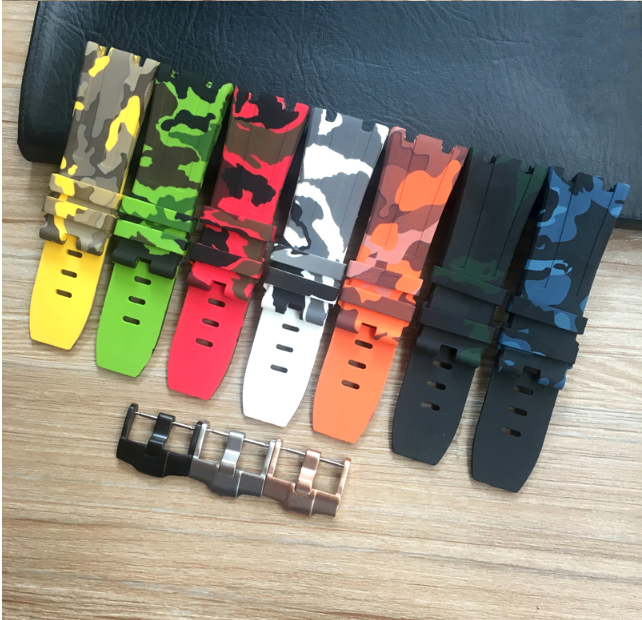 AP愛彼皇家橡樹離岸型系列迷彩色錶帶 15703 26703ST  迷彩橡膠錶帶配扣