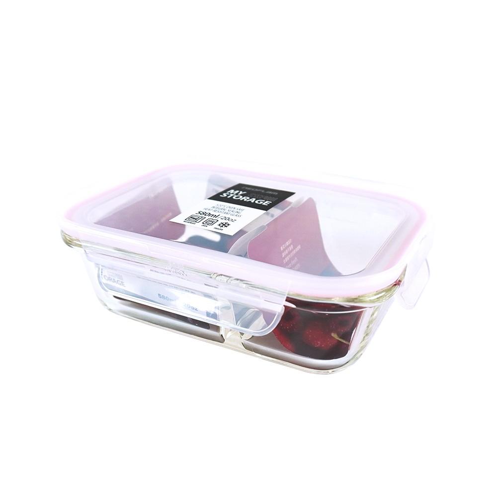 NEOFLAM 專利耐熱玻璃分隔保鮮盒長型-580ml