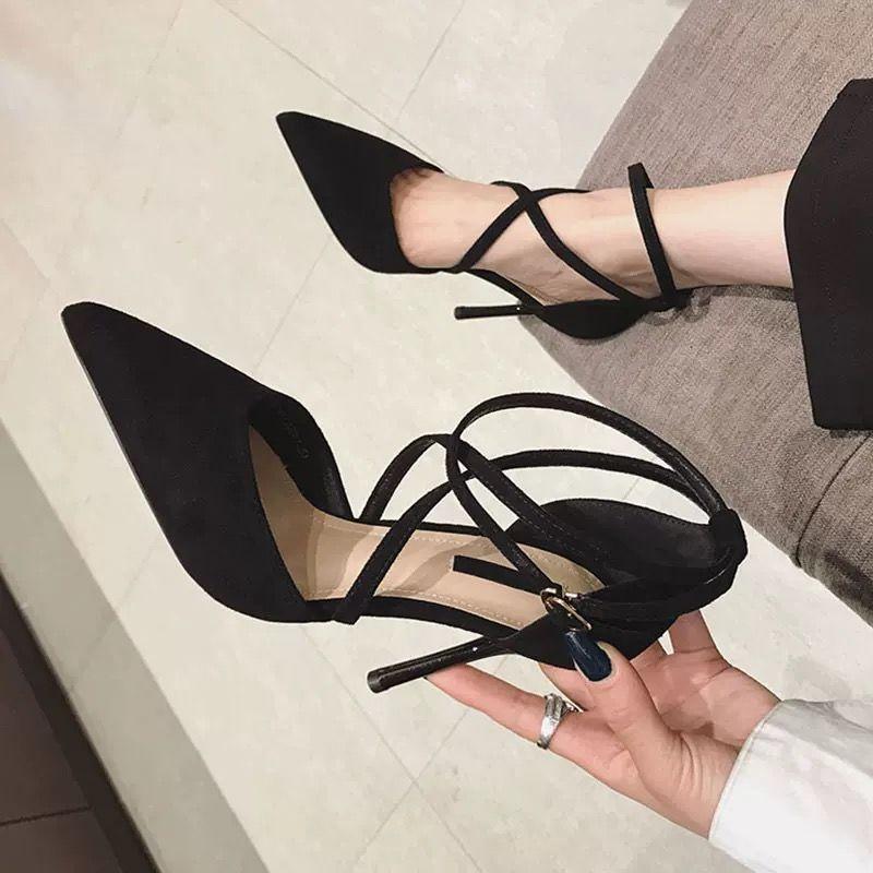 性感包鞋 中跟鞋 宴會鞋 婚鞋 舞會派對鞋 性感綁帶尖頭高跟鞋女細跟春季新款百搭網紅法式少女中空單鞋