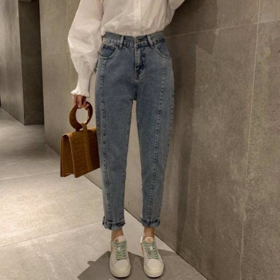 漂亮小媽咪哈倫褲【P3146】 高腰牛仔長褲 韓系 寬鬆 百搭 丹寧 長褲 牛仔褲