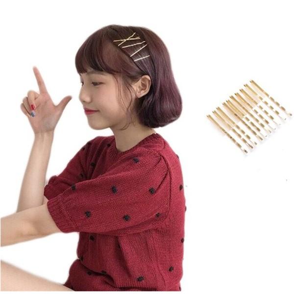 韓國復古金屬珍珠愛心一字夾 韓版髮夾 甜美幾何髮夾 簡約髮夾 金色一字夾