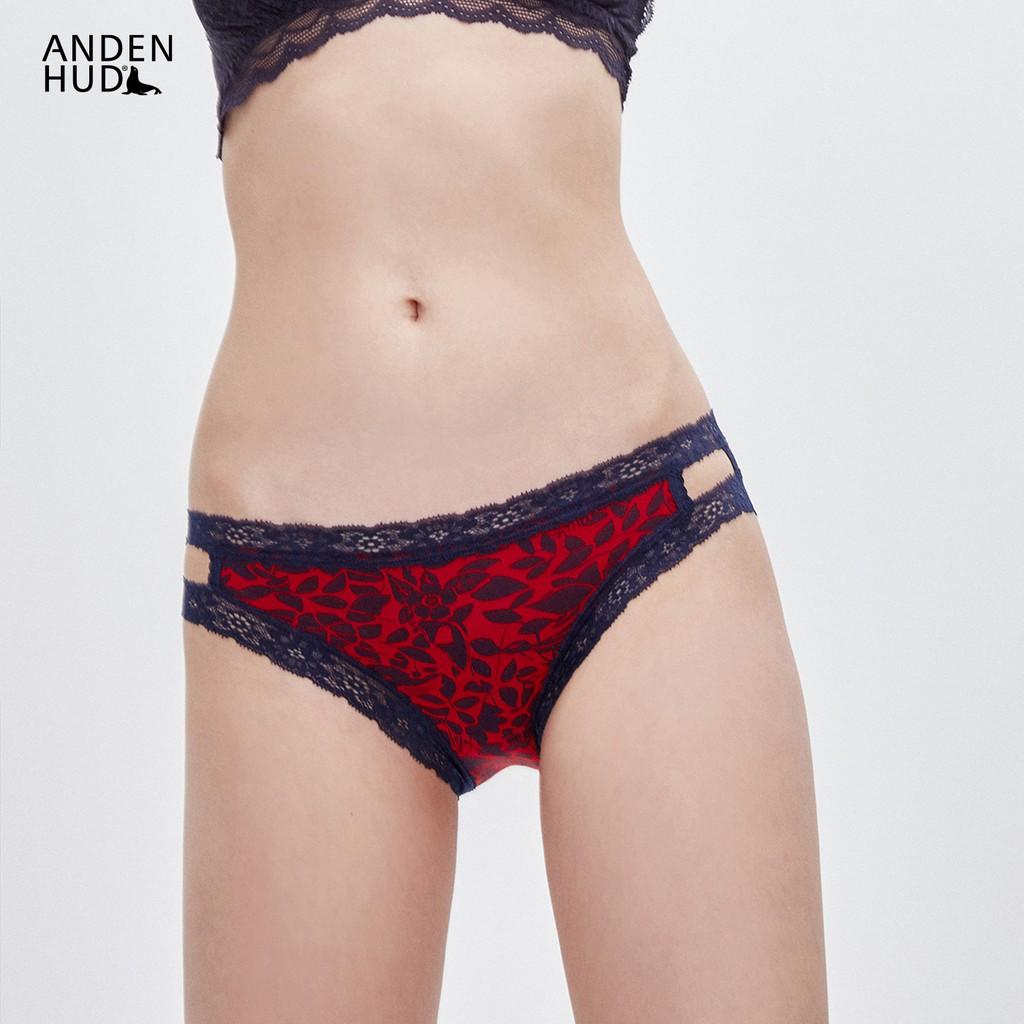 【Anden Hud】Tropical.織帶簍空中腰三角內褲(紅-深藍花鳥) 台灣製