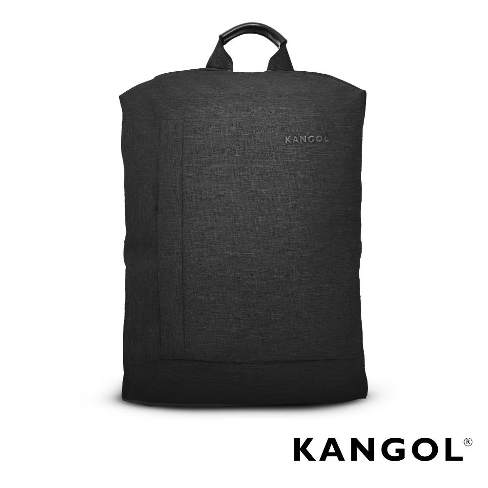 KANGOL 韓國IT男爵系列-金屬釦抓皺設計防潑水男女休閒機能後背包(混織黑) KG1155