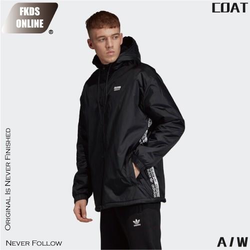 ADIDAS 愛迪達 三葉草系列 黑白雙LOGO 串標 風衣外套 防風外套 休閒外套 運動外套 連帽外套 FL0010