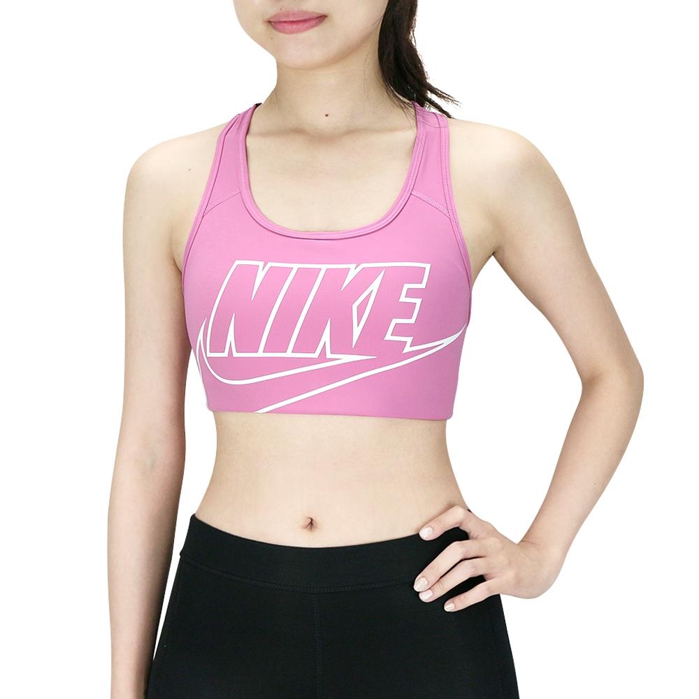 NIKE 女 AS NIKE SWOOSH FUTURA BRA 中强度支撑一片式襯墊運動内衣 粉 BV3644693