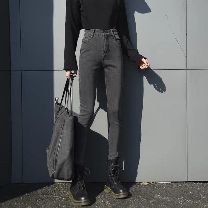 休閒長褲 牛仔長褲 鉛筆褲 緊身褲 秋冬款黑色高腰刷毛加厚牛仔褲女韓版學生百搭鉛筆緊身彈力窄管褲