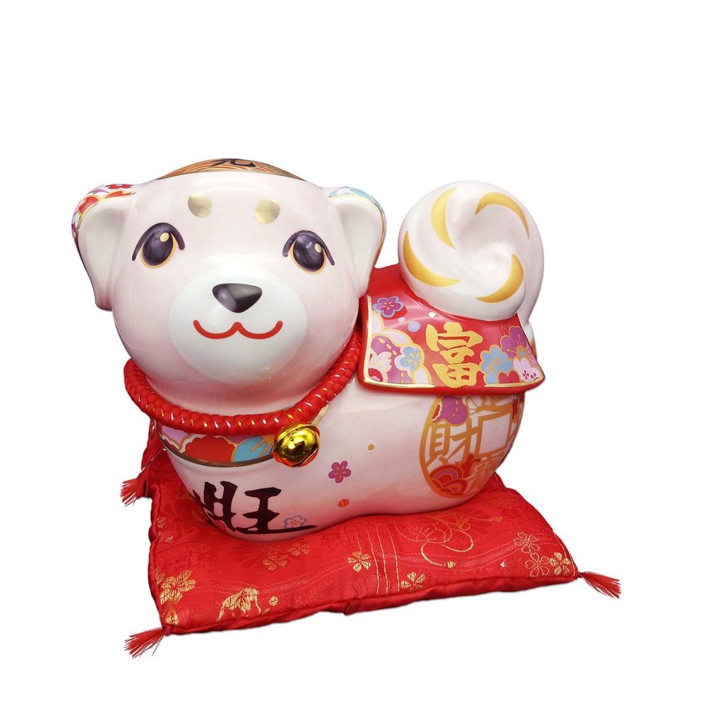 【金石工坊】旺財來富糖果罐(大)(高20CM)生肖 狗年 柴犬 年節禮物 開運風水陶瓷擺飾 糖果罐