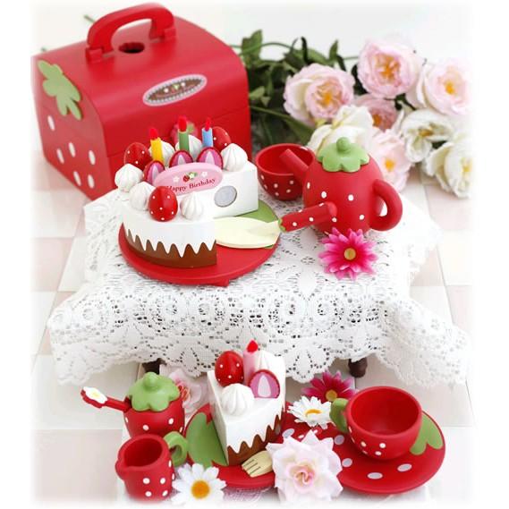 《祈樂雜貨舖》木製草莓蛋糕點心組(紅色) 一月底前出清