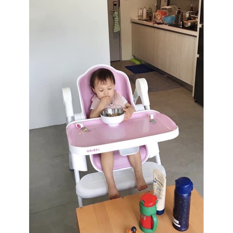二手✨新加坡Oribel成長型餐椅+椅墊-草莓糖粉