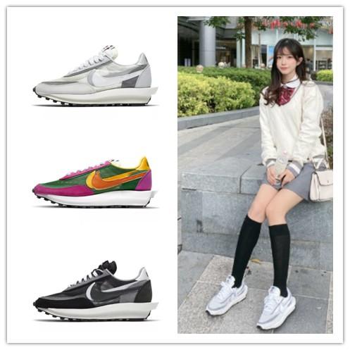 高品質 Sacai x Nike LDWaffle 'Black'   Dior聯名款 復古老爹鞋 休閒鞋