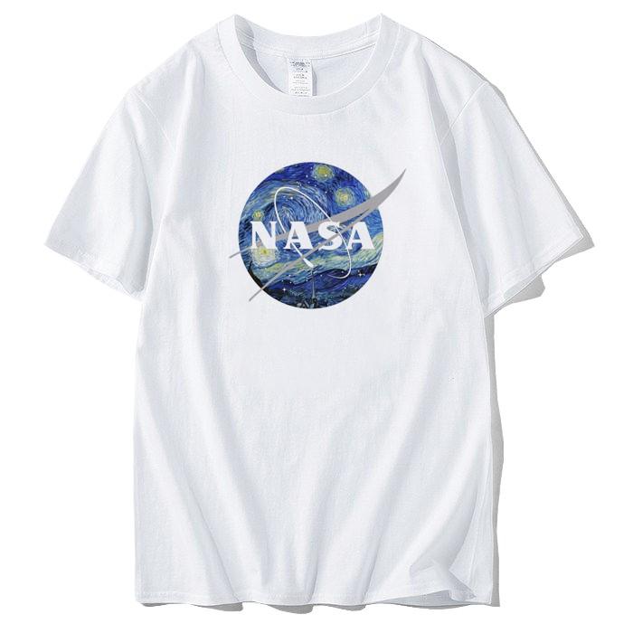 NASA Van Gogh 短T 白色 梵谷 星夜 短tee 衣服 寬鬆 班服 團體服