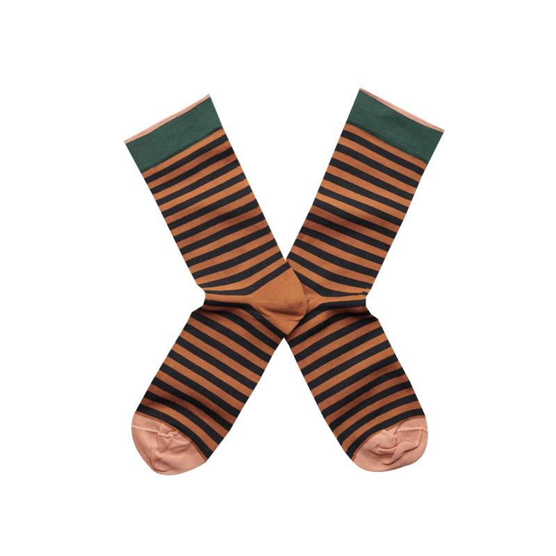 法國Bonne Maison Caramel Stripe復古大地條紋中統襪CA6-01