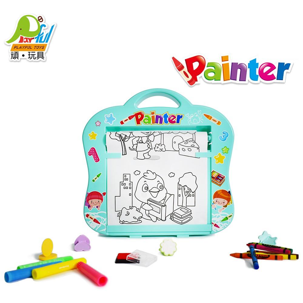 【Playful Toys 頑玩具】捲軸著色板(捲軸塗鴉 塗鴉板 繪畫板 蠟筆彩繪 兒童畫板)