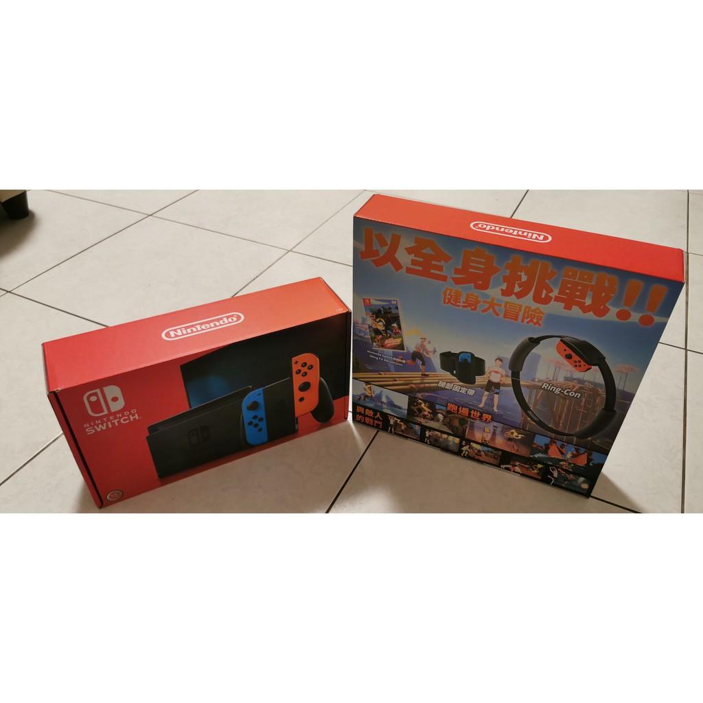 任天堂 SWITCH NS 主機 黑色主機 紅藍手把 控制器 台灣公司貨 +運動環 9成9新
