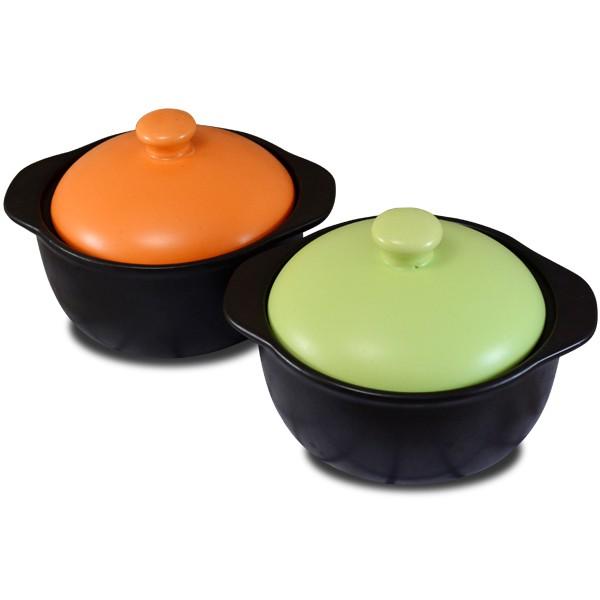 【堯峰陶瓷】【台灣鶯歌製造出貨】養生陶瓷 陶砂鍋 馬卡龍色系 橘色/綠色 滷味鍋 燉鍋 (1人適用)