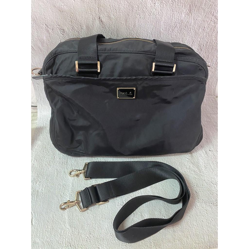 (男、女) agnes b Voyage 尼龍 肩背包 手提包 購物袋 精典款 黑色 (二手)