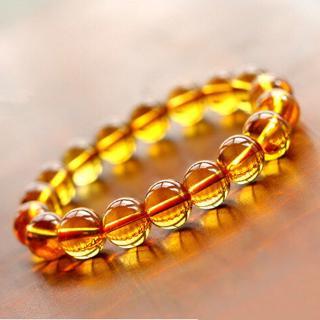 Reiki Chakra黃色水晶瑪瑙珠子手鍊男女皆宜
