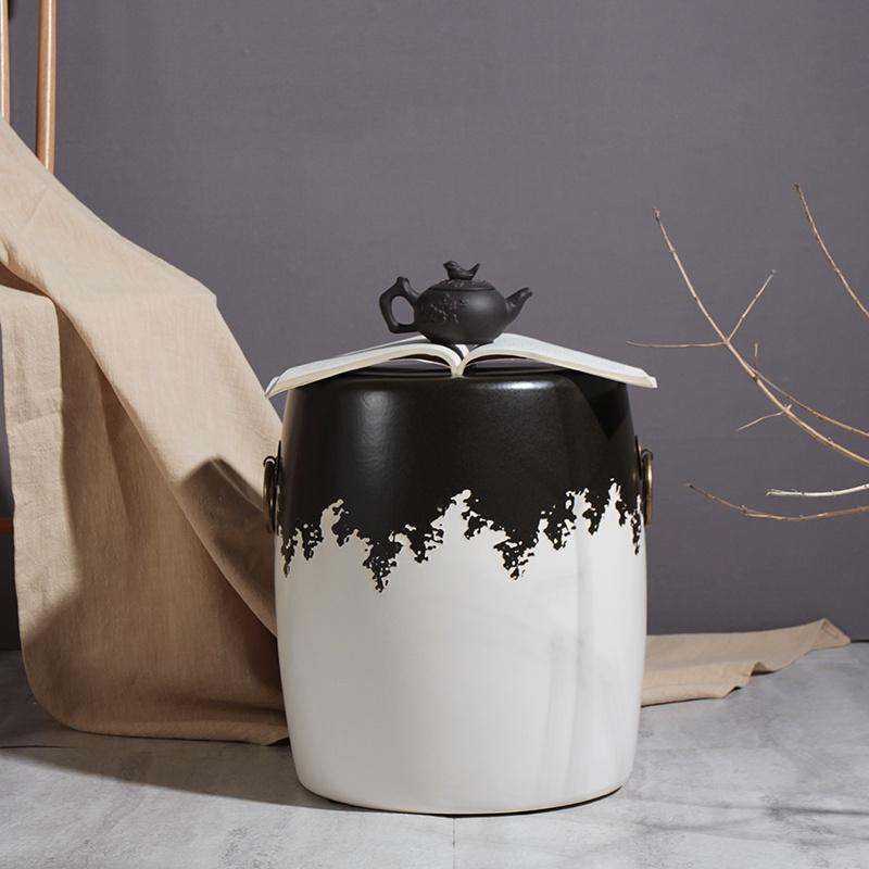 居家仿真摆件♘☃❅黑白色彩素雅復古銅環陶瓷鼓凳繡墩琴凳換鞋凳布場擺件居家陶瓷椅