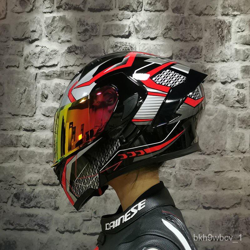【H02】機車安全帽 電動車電瓶車頭盔 安全帽 ORZ摩托車頭盔男女全盔雙鏡片揭面電動機車個車越野盔四季個性 UAfB