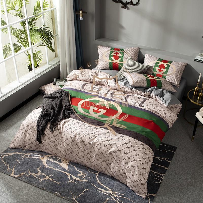 【春夏新款】大牌床包 100%棉 古馳床包 GUCCI Gucci 純棉床包 床笠 雙人 加大雙人 特大被套 帶鬆緊帶