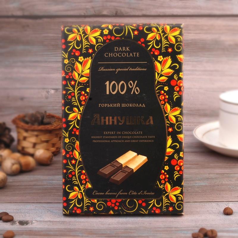 黑巧克力100%無糖俄羅斯進口百之百黑巧克力純可可脂肪獨立條裝低