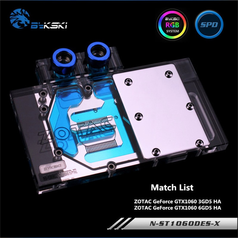 Bykski ZOTAC GeForce GTX1060 3GD5 / 6GD5 HA顯卡N-ST1060DES-X的全