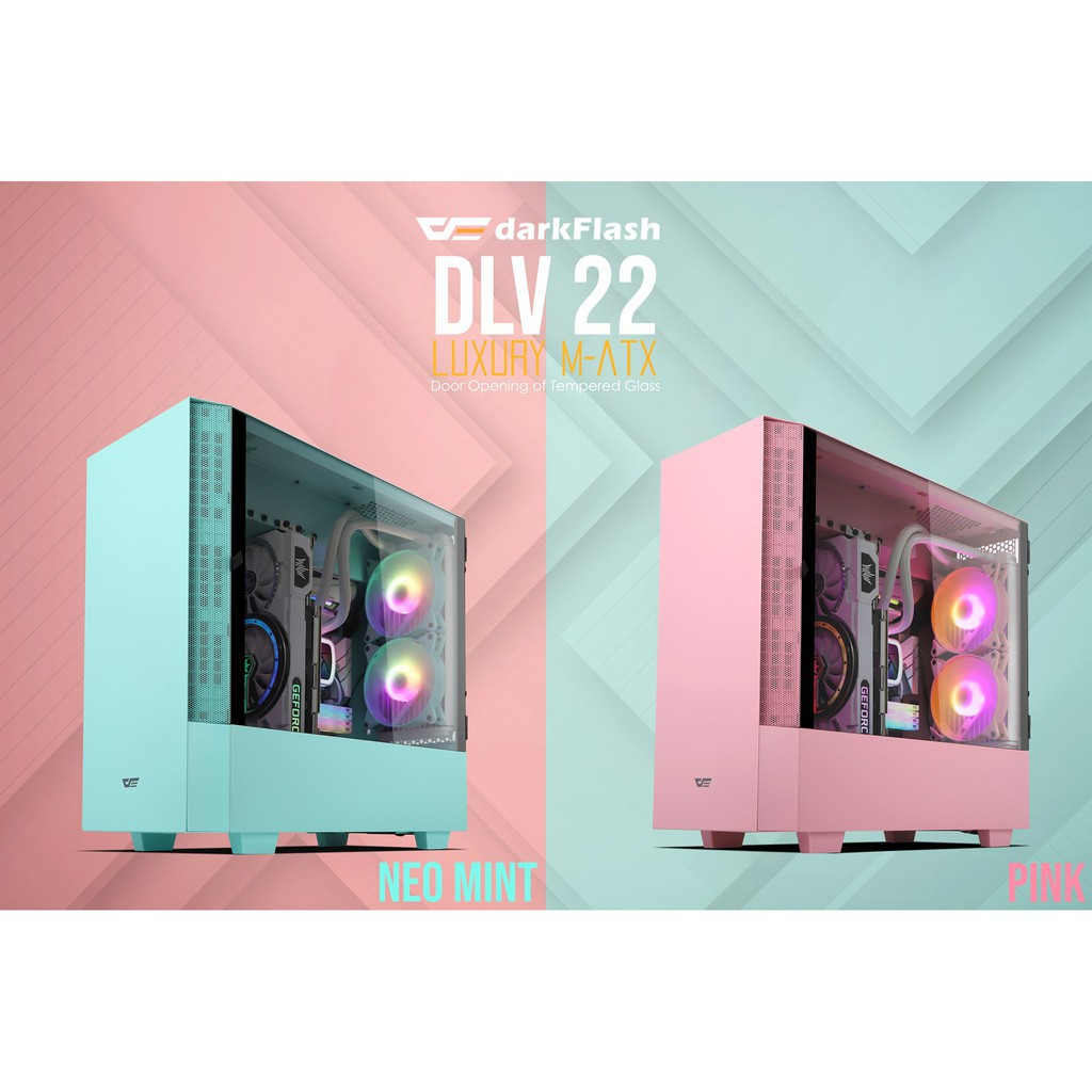 darkFlash DLV22 ATX 電腦機殼 (附5顆ARGB風扇) 機箱 黑色/白色/粉色/薄荷綠 側開 掀蓋玻璃