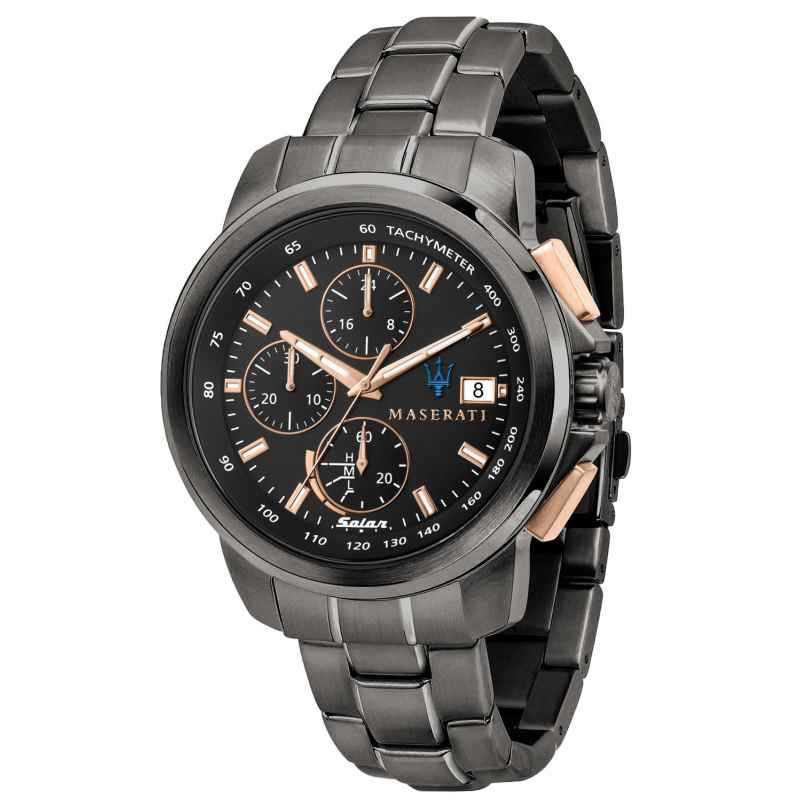 [正品專櫃貨]MASERATI瑪莎拉蒂 SUCCESSO 光動能槍色三眼計時鋼帶腕錶 R8873645001