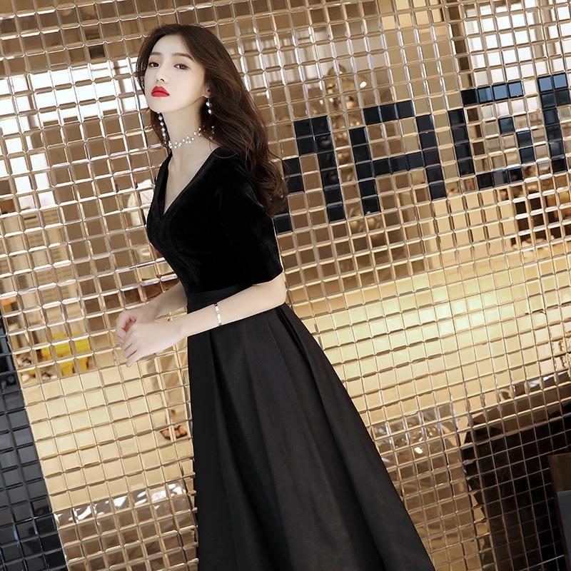 ㊣ 黑色 晚禮服 裙 女 新款 宴會 高貴 優雅 主持人 長款 顯瘦 名媛 聚會 晚宴