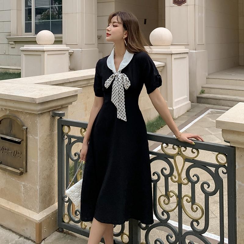 波點蝴蝶結小翻領赫本洋裝知洋黑色修身顯瘦a字裙連身裙