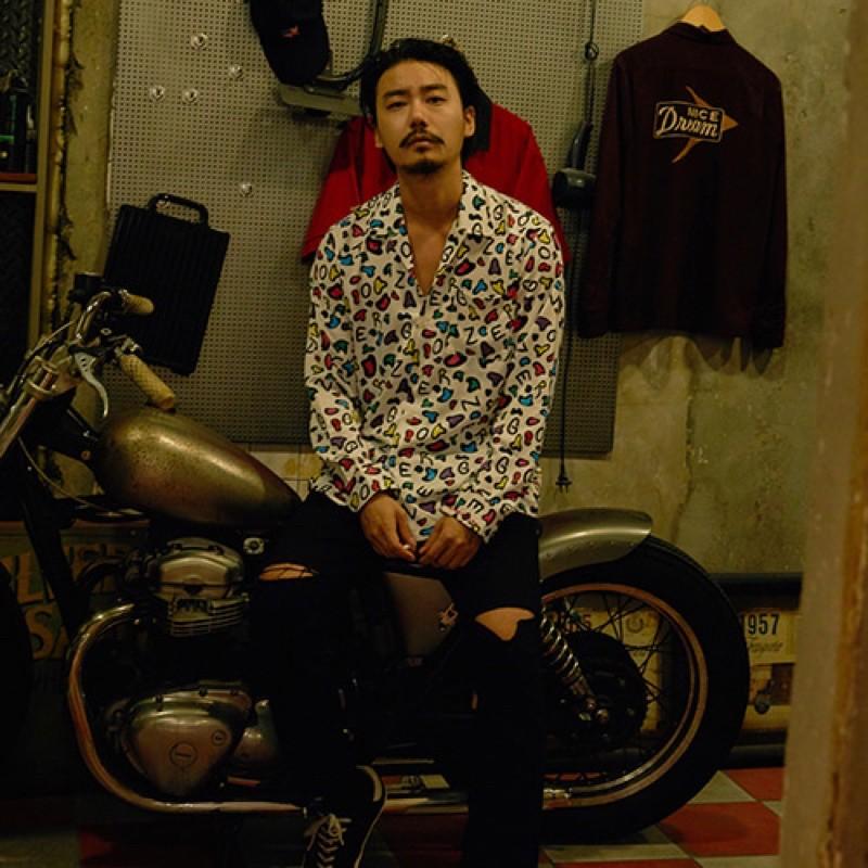 【GOZER Taiwan】COLOR LEOPARD SHIRT 炫彩字母圖騰長袖襯衫
