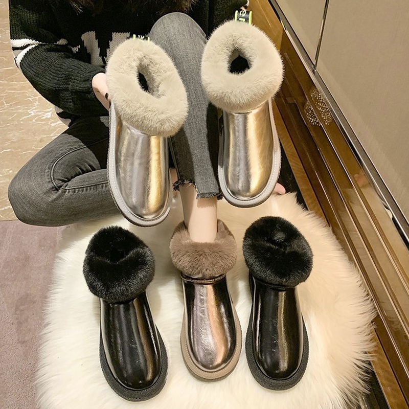 #爆款雪地靴女皮毛一體2020冬季新款加厚絨皮面防水面包大棉鞋東北短靴