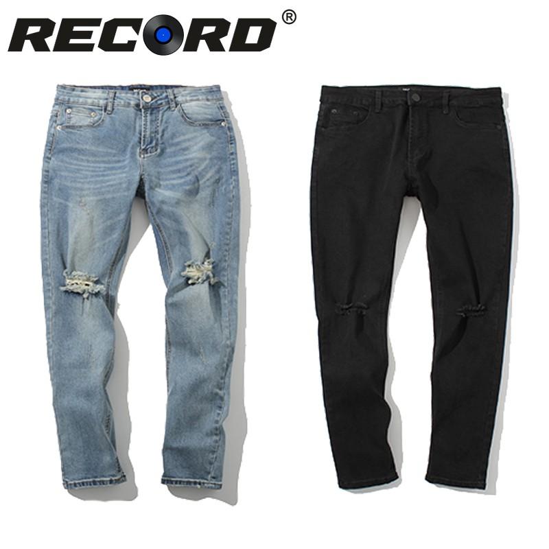 RECORD 【男女可穿】 破壞牛仔褲 褲膝蓋 破壞 刀割 淺藍/黑色 牛仔長褲 刀割 牛仔長褲 破壞牛仔褲