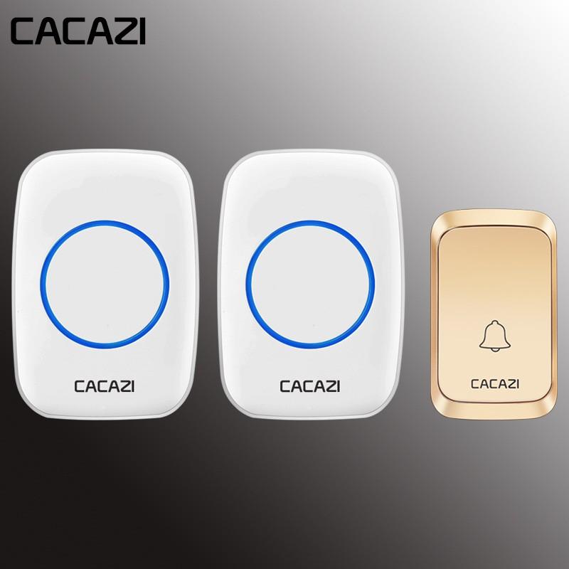 CACAZI防水無線門鈴LED燈電池300M遠程家用無繩呼叫鈴