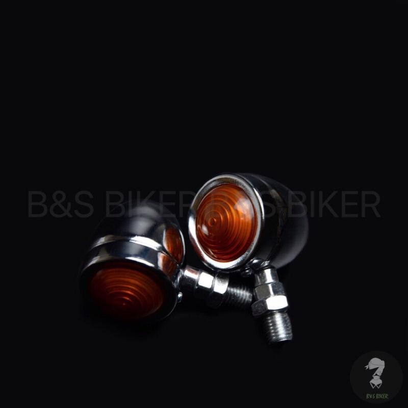 B&S 「現貨、最快速、最便宜」復古方向燈系列A 螺紋方向燈 消光黑 電鍍銀 檔車 KTR MY150 野狼 雲豹 愛將