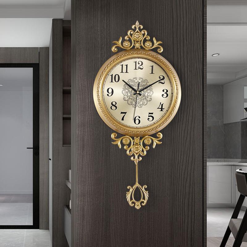 PZ 輕奢黃銅掛鐘傢用客廳裝飾歐式鐘表時尚現代美式個性創意搖擺時鐘