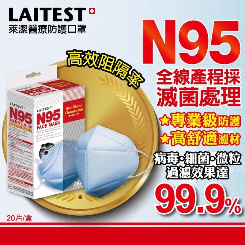 【過濾99%病毒】20片入萊潔N95醫療防護口罩(雪花白)(海洋藍)