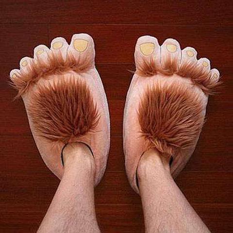 【居家搞怪棉拖鞋創意大腳丫】冬季卡通可愛腳丫爪子舒適包跟毛絨室內厚居家加大男女情侶棉拖鞋