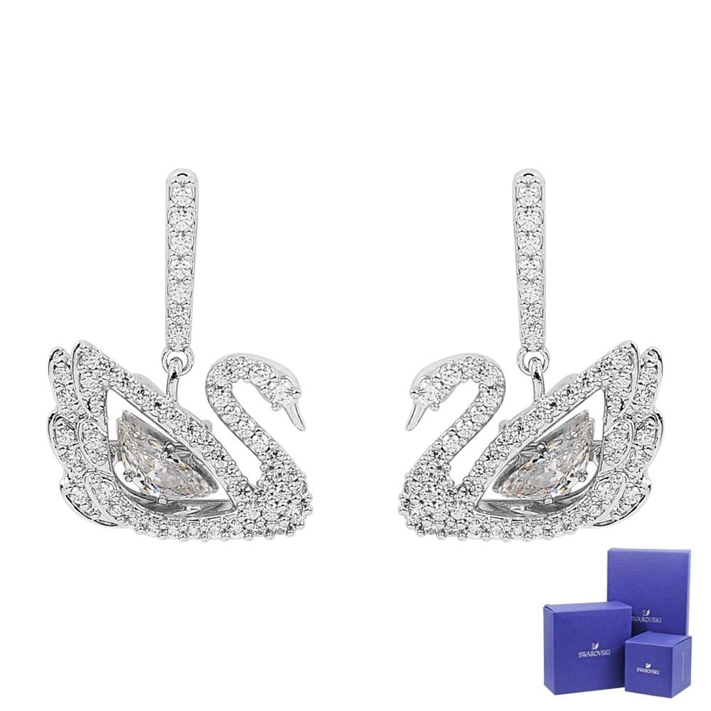 SWAROVSKI 施華洛世奇 Dancing Swan躍動水晶天鵝造型銀色耳環 5514420