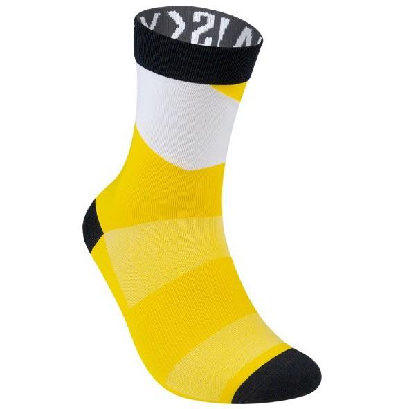 BAISKY百士奇 夏季薄款中筒自行車襪 運動襪 幾何 黑黃