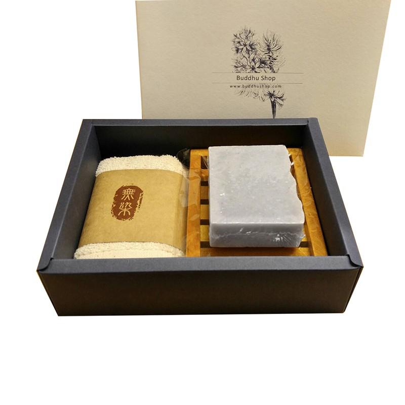 布度工坊 Buddhu Shop 台南官田 菱角炭皂 (無精油) 台灣檀木 無染毛巾 皂盤 手工皂 禮盒組