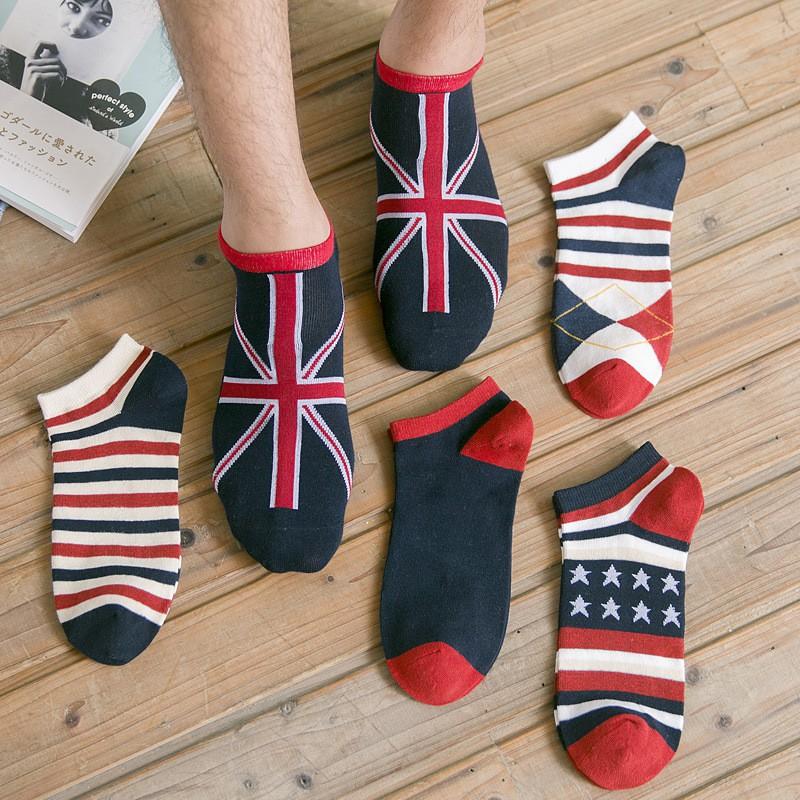 男襪 棉質 英倫風 休閒 運動 吸汗 船襪 條紋 男士襪子 棉襪 短襪
