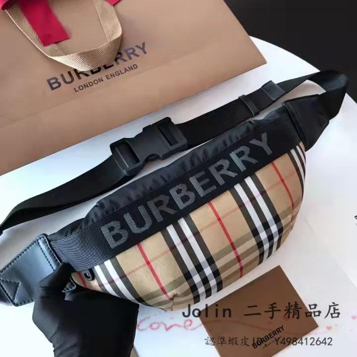 二手正品  BURBERRY  8026557  博柏利 格紋 帆布 拉鍊 胸口包 腰包 斜背包 情侶款