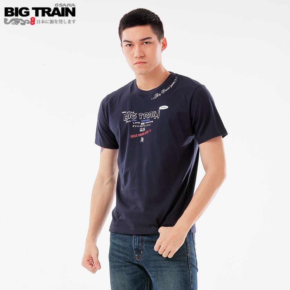 BIG TRAIN 潮人文字圓領短袖-深藍