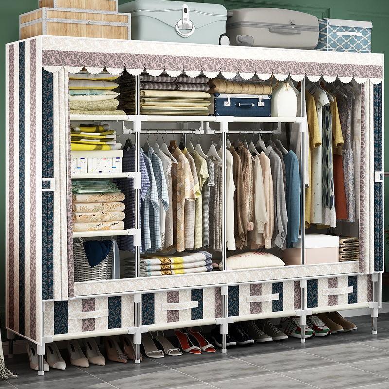 現貨簡易掛衣櫃 全鋼架收納布衣帶抽屜衣櫥單人雙人學生宿舍收納櫃 容量簡約防塵衣櫃簡約經濟型儲物衣櫃 鋼管櫃