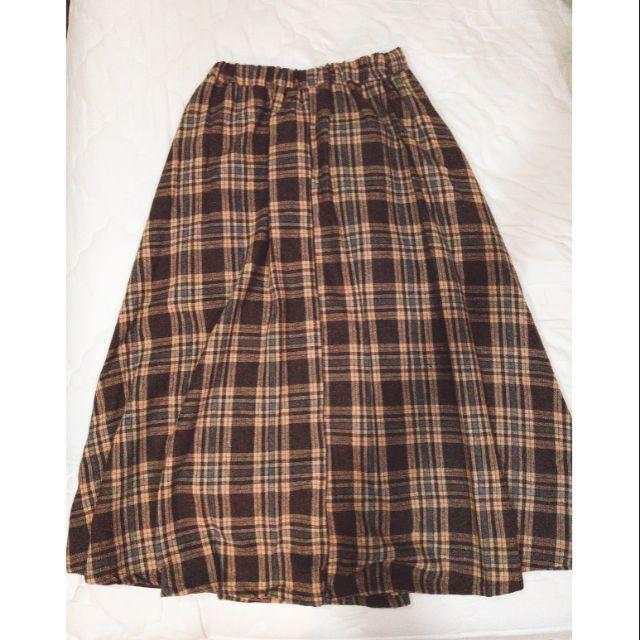 日系 蘇格蘭格紋 長裙 英倫 學院風 少女