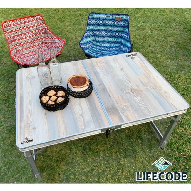 橡木紋鋁合金折疊桌/野餐桌120x80-送桌下網