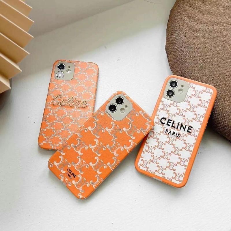 預購🍎Celine 瑟琳皮紋橙色刺繡手機殼📱下單一率聊聊